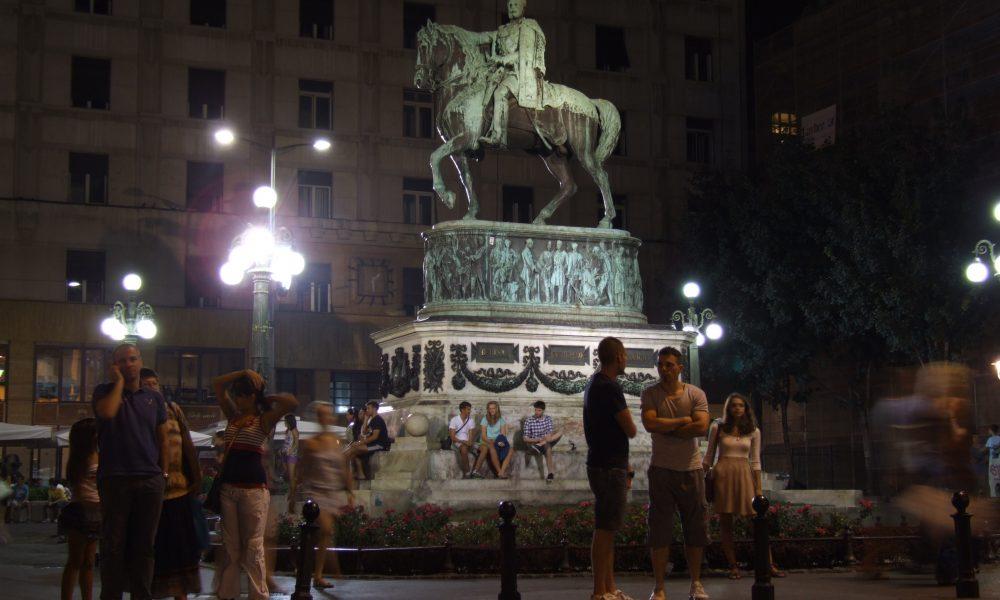 https://commons.wikimedia.org/wiki/File:Prince_Mihailo_Monument,_Belgrade_-_by_night.JPG